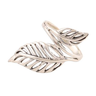 Sterling silver cocktail ring, 'Leafy Duo' - Sterling Silver Leaf Cocktail Ring from India
