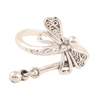 Sterling silver cocktail ring, 'Dragonfly Fantasy' - Sterling Silver Dragonfly Cocktail Ring from India