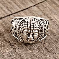 Sterling silver band ring, 'Meditating Buddha' - Sterling Silver Buddha Band Ring from India