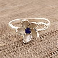 Lapis lazuli cocktail ring, 'Lapis Flower' - Floral Lapis Lazuli Cocktail Ring from India