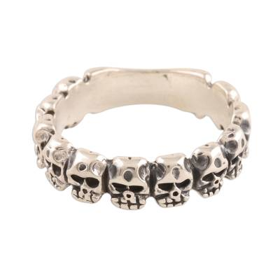 Sterling silver band ring, 'Row of Skulls' - Sterling Silver Skull Band Ring from India