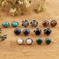 Multi-gemstone stud earrings, 'Glorious Pairs' (set of 7) - Multi-Gemstone Stud Earrings from India (Set of 7)