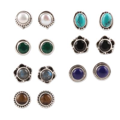Gemstone stud earrings, 'Everyday Pairs' (set of 7) - Multi-Gemstone Stud Earrings from India (Set of 7)