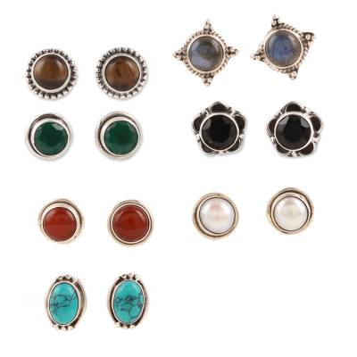 Multi-gemstone stud earrings, 'Elegant Pairs' (set of 7) - Set of 7 Multi-Gemstone Stud Earrings from India