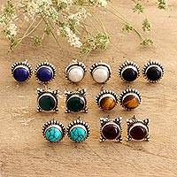 Multi-gemstone stud earrings, 'Harmonious Pairs' (set of 7) - Handmade Multi-Gemstone Stud Earrings (Set of 7)