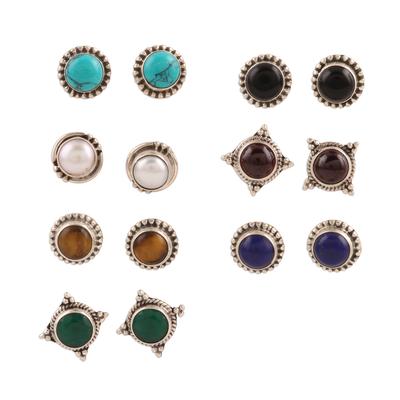 Multi-gemstone stud earrings, 'Harmonious Pairs' (set of 7) - Handmade Multi-Gemstone Stud Earrings (Set of 7)