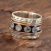 Rainbow moonstone spinner ring, 'Eternal Meditation' - Natural Rainbow Moonstone Spinner Ring from India