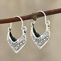 Sterling silver hoop earrings, 'Pointed Dew' - Pointed Sterling Silver Hoop Earrings from India