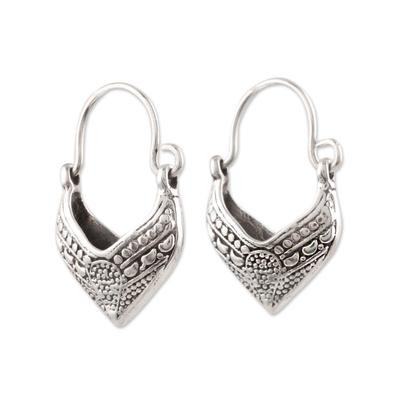 Sterling silver hoop earrings, 'Pointed Dew' - Pointed Sterling Silver Hoop Earrings from India
