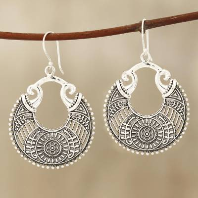 Sterling silver dangle earrings, 'Floral Descent' - Round Floral Sterling Silver Dangle Earrings from India