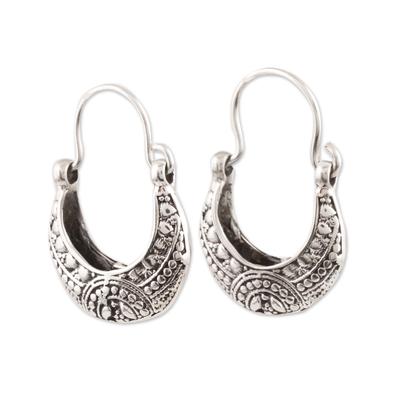 Sterling silver hoop earrings, 'Mystic Cradle' - Sterling Silver Hoop Earrings Crafted in India