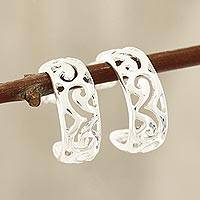 Sterling silver half-hoop earrings, 'Wavy Grace' - Wavy Openwork Sterling Silver Half-Hoop Earrings from India
