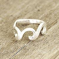 Sterling silver band ring, 'Waves and Style' - Wave Pattern Sterling Silver Band Ring Crafted in India