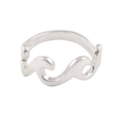 Wave Pattern Sterling Silver Band Ring Crafted in India