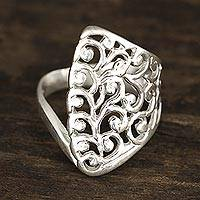 Sterling silver band ring, 'Vine Allure' - Openwork Vine Pattern Sterling Silver Band Ring from India