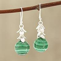 Malachite dangle earrings, 'Dancing Fruit' - Round Malachite Dangle Earrings Crafted in India