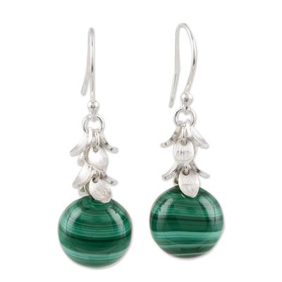 Malachite dangle earrings, 'Dancing Fruit' - Round Malachite Dangle Earrings Crafted in India