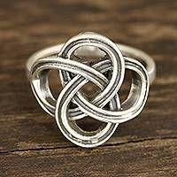 Sterling silver band ring, 'Celtic Connection'