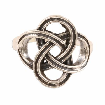 Sterling silver band ring, 'Celtic Connection' - Celtic Sterling Silver Band Ring Crafted in India