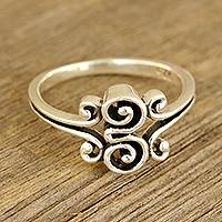 Sterling silver band ring, 'Curling Delight'