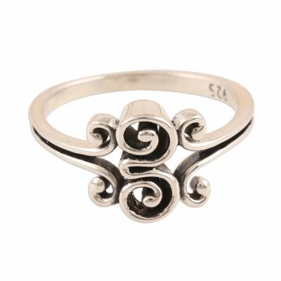 Sterling silver band ring, 'Curling Delight' - Curl Motif Sterling Silver Band Ring from India