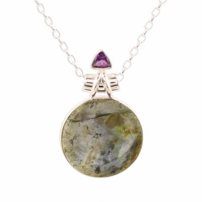 Labradorite and amethyst pendant necklace, 'Fascinating Moon' - Labradorite and Amethyst Pendant Necklace from India