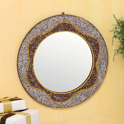 Glass wall mirror, 'Vibrant Waves' - Wave Pattern Round Glass Wall Mirror from India