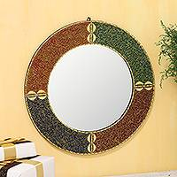 Glass beaded wall mirror, 'Modern Glitter' - Colorful Glass Beaded Wall Mirror from India