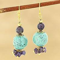 Quartz beaded dangle earrings, 'Watery Globes' - Quartz and Resin Beaded Dangle Earrings from India