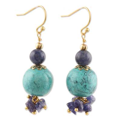 Quartz and Resin Beaded Dangle Earrings from India