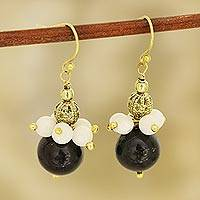 Onyx and moonstone beaded dangle earrings, 'Gleaming Globes' - Onyx and Moonstone Beaded Dangle Earrings from India