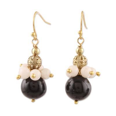 Onyx and Moonstone Beaded Dangle Earrings from India