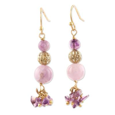 Pink and Purple Quartz Beaded Dangle Earrings from India