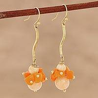 Agate beaded dangle earrings, 'Gemstone Burst' - Orange Agate Beaded Dangle Earrings from India
