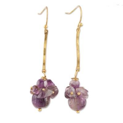 Purple Quartz Beaded Dangle Earrings from India