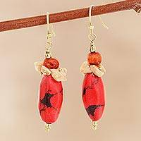 Agate beaded cluster earrings, 'Fiery Combination' - Agate and Red Resin Beaded Cluster Earrings from India