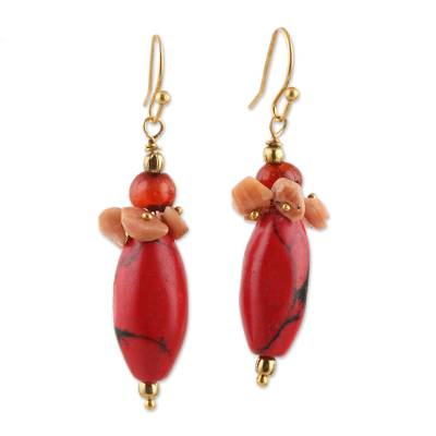 Agate and Red Resin Beaded Cluster Earrings from India
