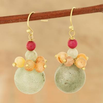 Agate and quartz beaded cluster earrings, 'Speckled Colors' - Colorful Agate and Quartz Beaded Cluster Earrings from India
