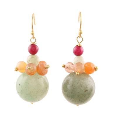 Colorful Agate and Quartz Beaded Cluster Earrings from India