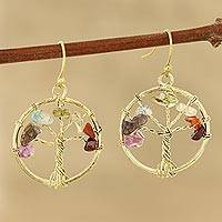 Agate dangle earrings, 'Radiant Trees' - Tree-Themed Colorful Agate Dangle Earrings from India