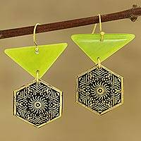 Brass and resin dangle earrings, 'Floral Hexagons' - Floral Brass and Resin Dangle Earrings from India