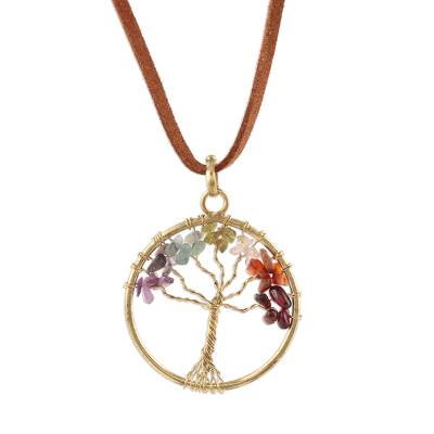 Colorful Agate Tree Pendant Necklace from India