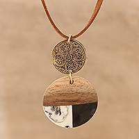 Wood and resin long pendant necklace, 'Regal Fusion' - Wood and Resin Pendant Necklace from India