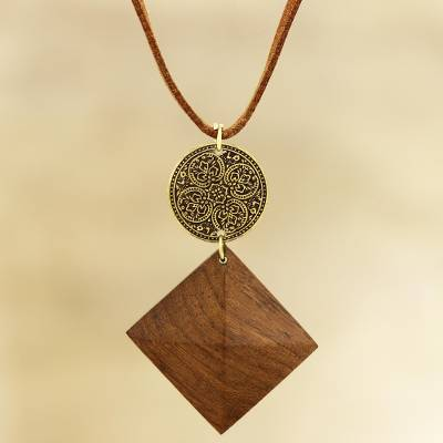 Wood and brass pendant necklace, 'Royal Pyramid' - Pyramid-Shaped Wood and Brass Pendant Necklace from India