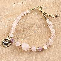 Quartz beaded bracelet, 'Appealing Pink' - Floral Pink Quartz Beaded Bracelet from India