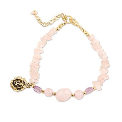 Floral Pink Quartz Beaded Bracelet from India