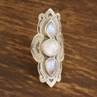 Rainbow moonstone cocktail ring, 'Classic Royalty' - Rainbow Moonstone Multi-Stone Cocktail Ring from Bali