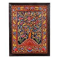 Marble wall art, 'The Tree of Life II' - Floral Tree-Themed Marble Wall Art from India