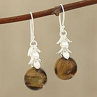 Tiger's eye dangle earrings, 'Dancing Fruit' - Round Tiger's Eye Dangle Earrings from India