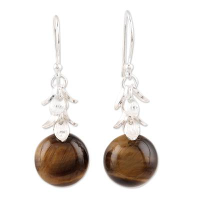 Tiger's eye dangle earrings, 'Dancing Fruit' - Round Tiger's Eye Dangle Earrings from India
